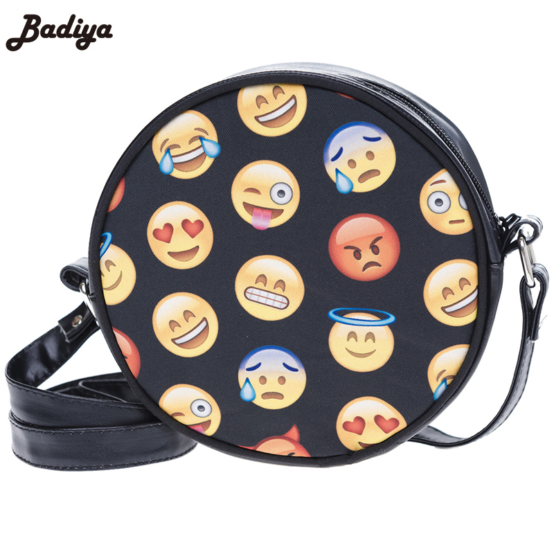 Trendy Mini Round Bag Crossbody Emoji 3D Printing Cartoon Smile Face Fashion Cute Phone Cases Unisex Casual Small Messenger Bag(China (Mainland))