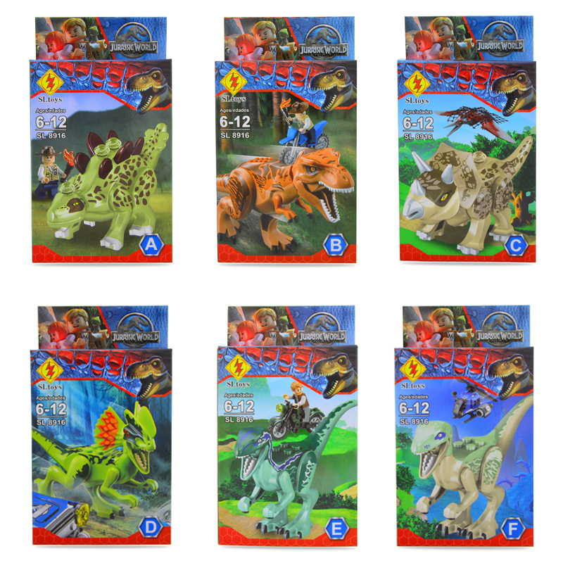 6Pcs/lot New arrival Movie Jurassic World Park Plastic Minifigures Building Blocks Figures Toys Bricks Compatible With Lego(China (Mainland))