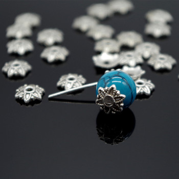 100pcsTibetan Style Silver Plated Flower Metal Bead Caps 8mm Filigree Jewelry Findings Connector Beads Cap Diy Jewelry Parts