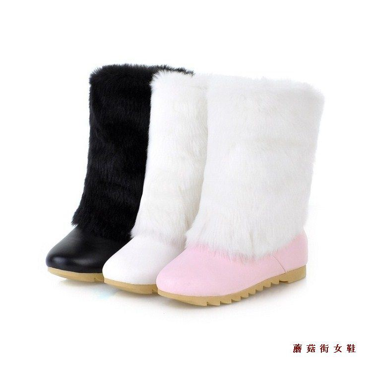 Fashion winter snow boots white pink black flat female shoes fur girls woman - Happiness Share store