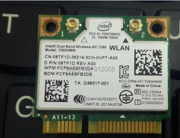 NEW Intel Dual Band Wireless-AC 7260 7260HMW 7260AC Mini-PCI 867Mbps 802.11ac Wifi Wireless Bluetooth 4.0 card for DELL(China (Mainland))