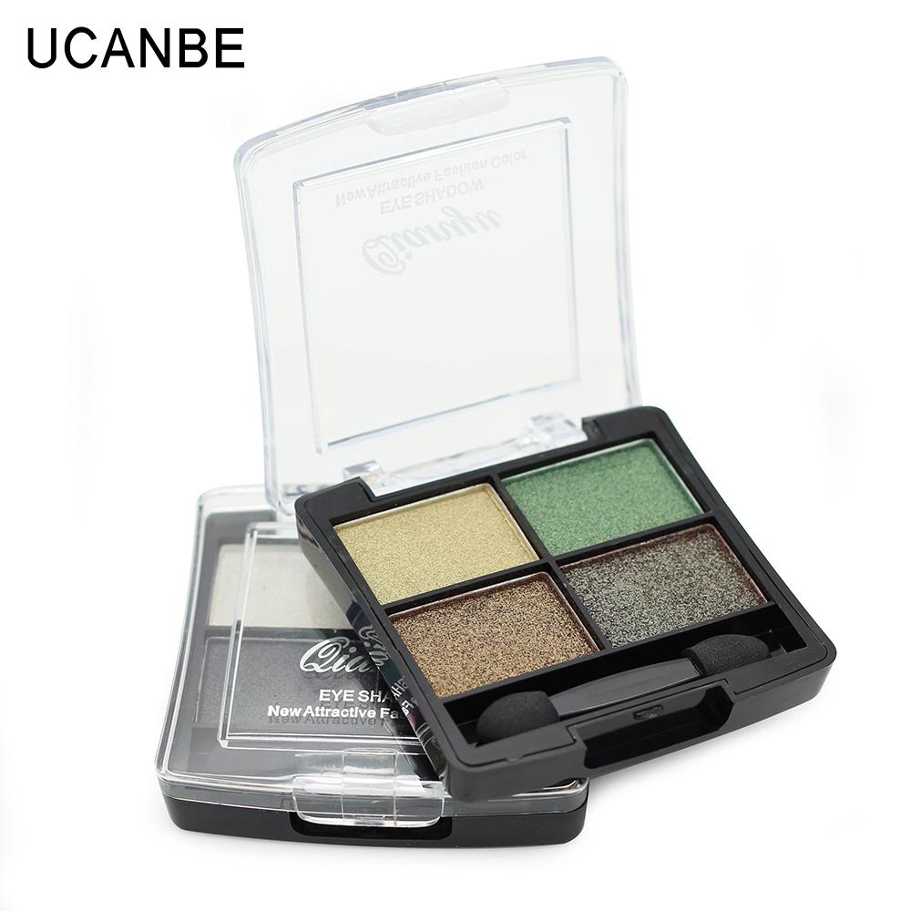 professional glitter eyeshadow palette 4 color fashion natural brand cosmetics naked smokey makeup shining eye shadow with brush(China (Mainland))