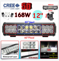 12 168W 5D Cree Chip External Boat Car Headlights LED Work Light Bar Offroad Driving Lamp