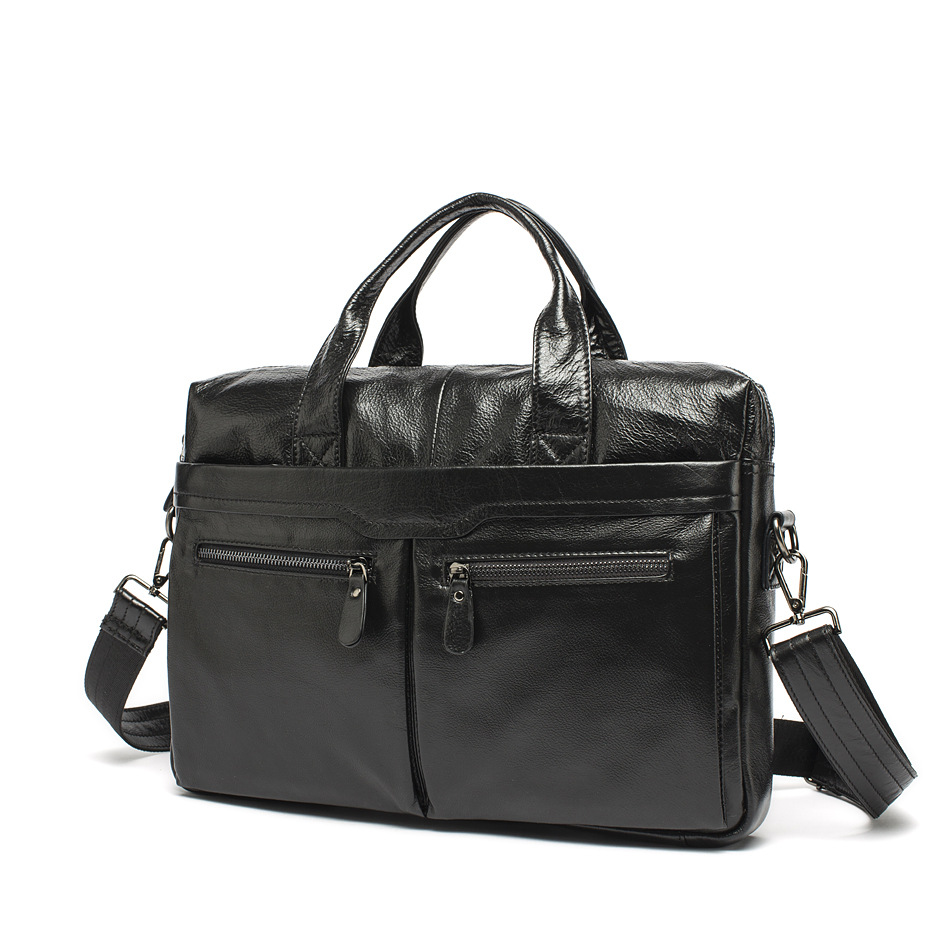Men business bags 100% genuine leather briefcase laptop bags cowhide black causal men handbag bags shoulder crossbody bag