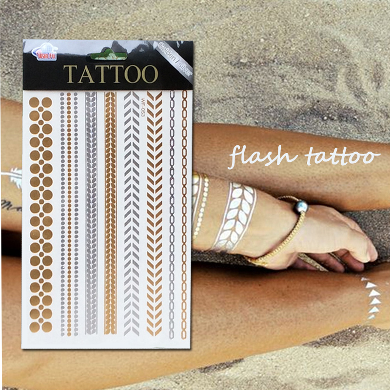 Women Choker Bracelet Metallic Leaf Tattoo Temporary Tattoo Sex Product Flash Tatouage Metalic Silver Gold Tattoos Body Art(China (Mainland))