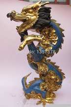 shitou 001045 Huge China Royal 100% Pure bronze cloisonne 24K Gold Giant Dragon Palace statue