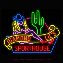 Sexy Diamond Lil's Sporthouse Las Vegas Neon Sign light Neon Bulb Signage Vintage neon signs For Bar Real Glass Tube Board 31x24(China (Mainland))