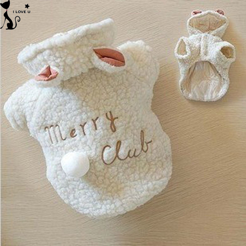 Fashion Pet Costume Small Dog Clothes Coat White Sheep Puppy Hoodie Chihuahua Clothing In Winter Warm Apparel XS S M L XL 116(China (Mainland))