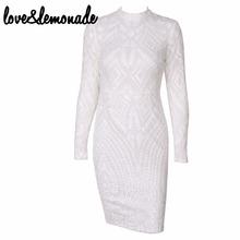 Buy Love&Lemonade White Geometric Figure Sequin Slim Dress TB 9823 for $34.99 in AliExpress store