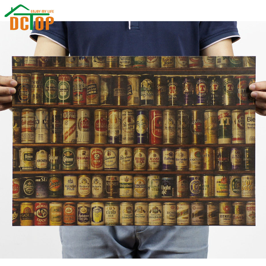 DCTOP Many Kinds Of Beer Pattern Wall Stickers Vintage Style Kraft Paper Poster Removable For Bar Decoration(China (Mainland))