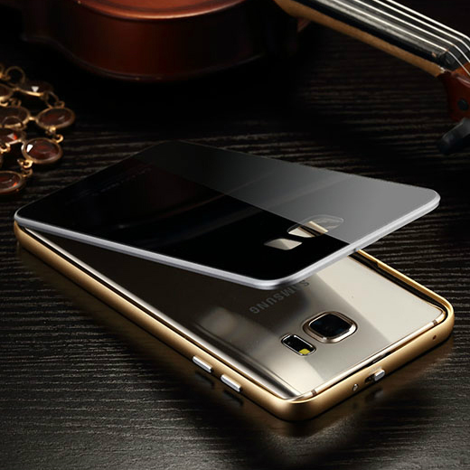 New Arrival Luphie Luxury Original Case for Samsung Galaxy Note 5 Arc Cutting Aluminum Metal With Tempered Glass Back Cover
