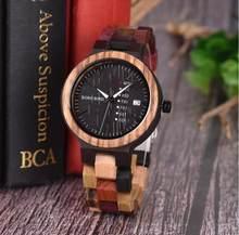 BOBO VOGEL Hout horloge Lover Paar Horloges Mannen Tonen Datum Dames Horloge Vrouwen Quartz Mannelijke bayan kol saati Gift in houten Doos(China)