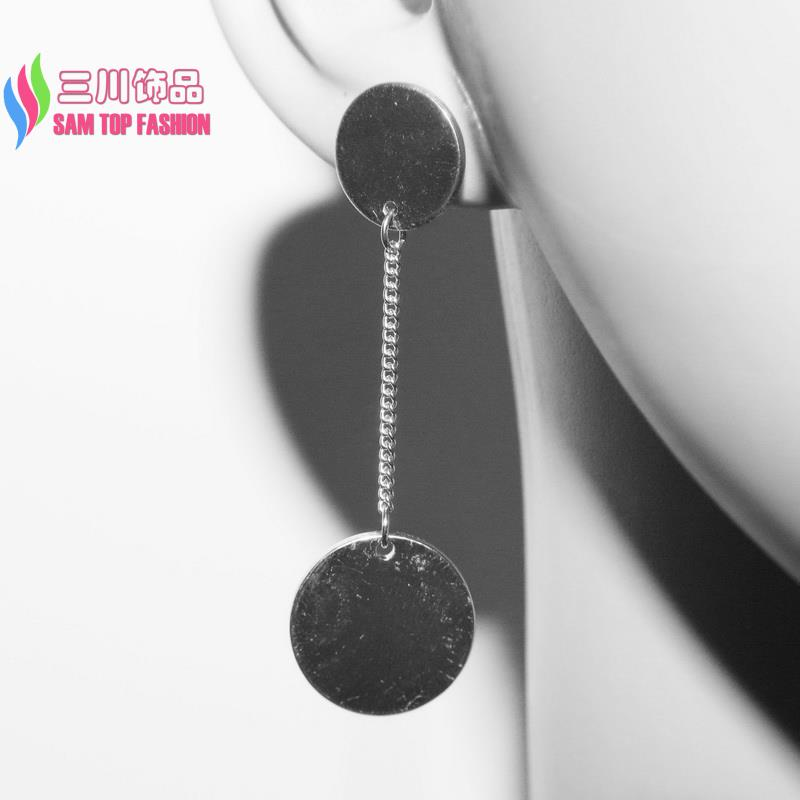 2016 hot sale Geo Earrings Fashion metal style Simple Gold/Silver palted Double Solid Circle Drop Earrings for Women(China (Mainland))