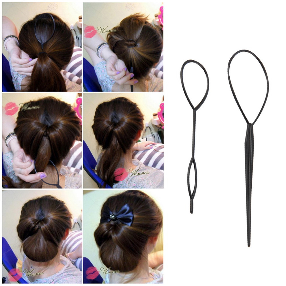 2 pcs Ponytail Creator Plastic Loop Styling Tools Black Topsy Pony topsy Tail Clip Hair Braid