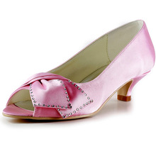 New Fashion Women Shoes Pink Blue Nude EP2022 Peep Toe Rhinestone Bow Cone Heel Satin Wedding Pumps(China (Mainland))