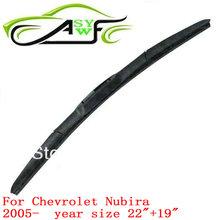 "Free shipping car wiper blade Chevrolet Nubira (2005 onwards), 22""+19"" U-hook Wiper arm 2pcs/PAIR"
