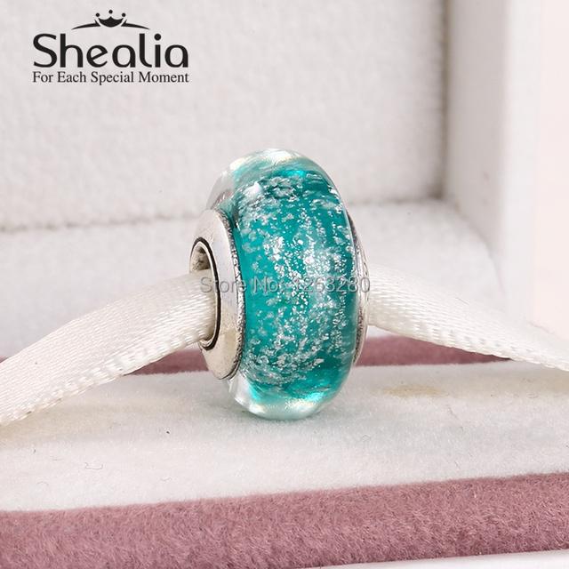 Весна 2015 новый стерлингового серебра 925 ариэль подпись цвет муранского стекла бусы для известного бренда diy браслет SHEALIA DS079
