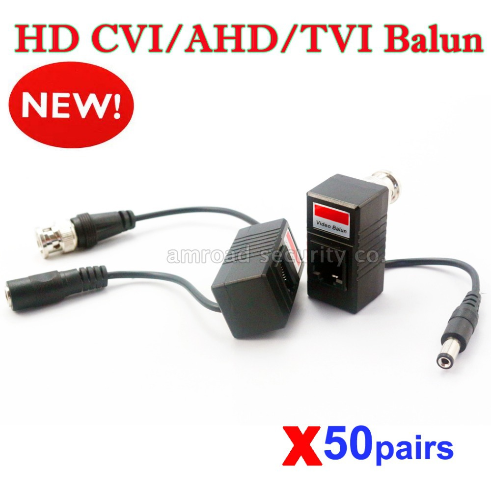 50pairs HD CVI/TVI/AHD Passive Video Balun Transmitter Transceiver 720P 1080P Male BNC to UTP Cat5/5e/6 CCTV Cable(China (Mainland))