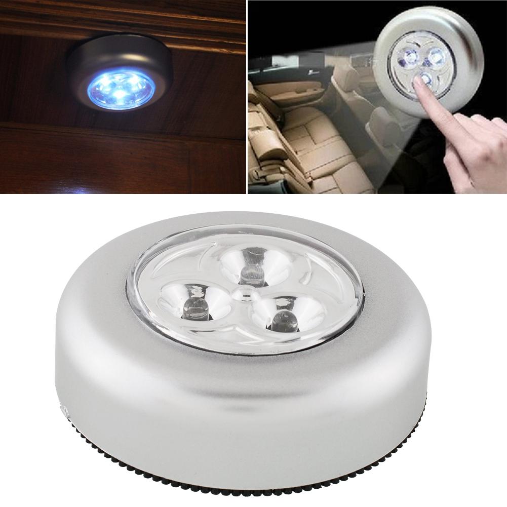 Мини круглый 3 LED толчок ручки крана удобное сенсорное практичный шкаф ночник Светильник Беспроводная Лампа автомобиля