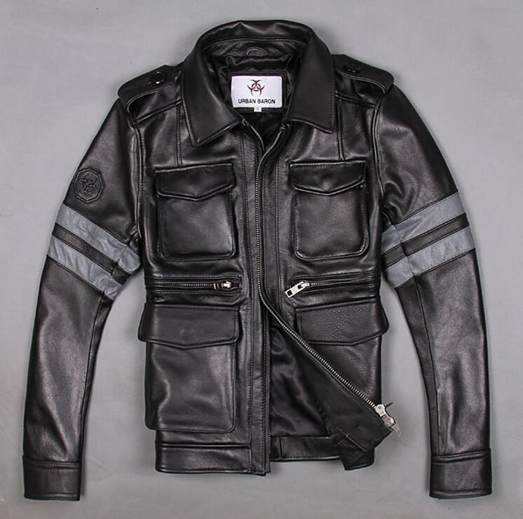Factory 2016 Biochemical crisis M65 100% real cowskin leather jacket coat male short flight suit motorcycle black coat S-3XL(China (Mainland))