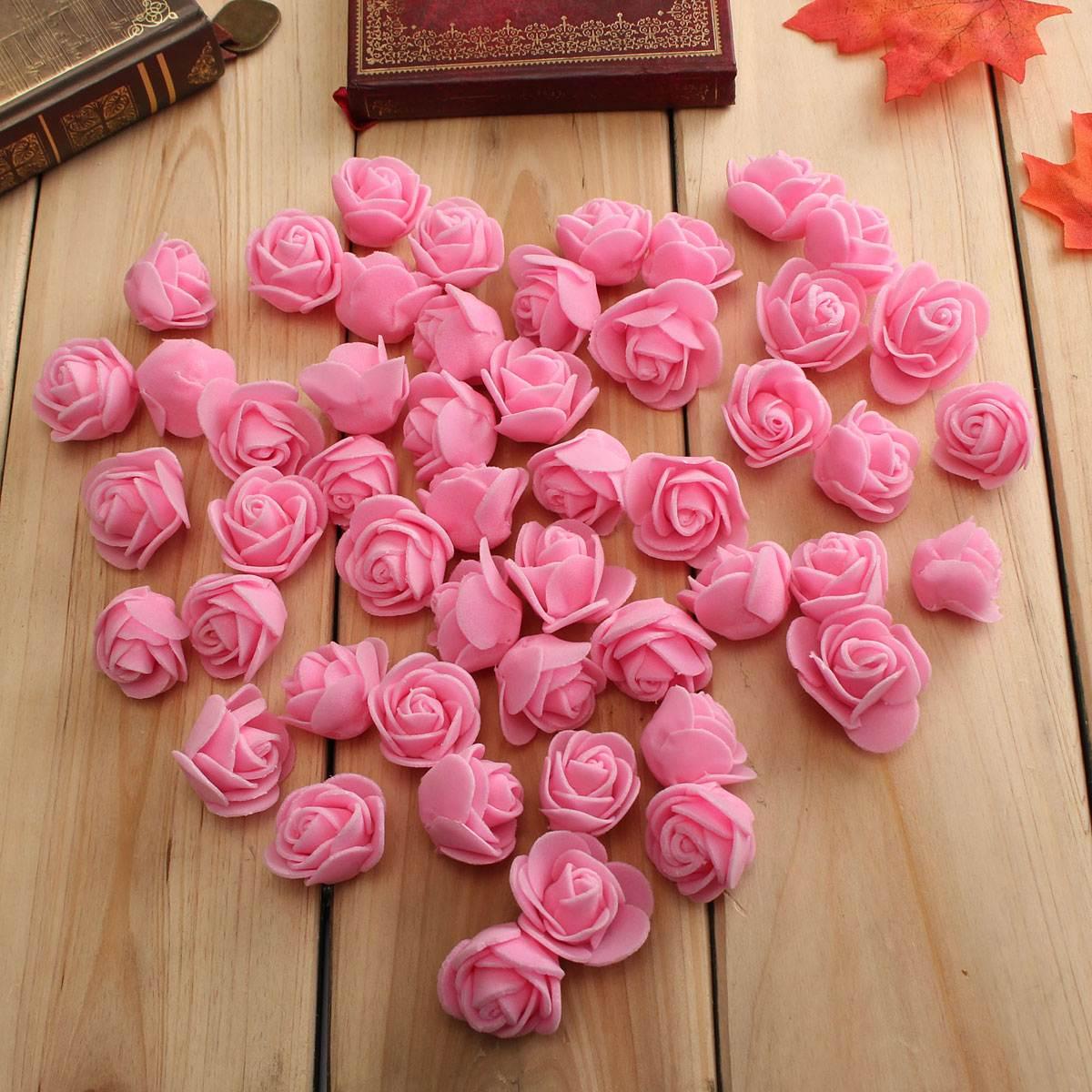 50PCS/Bag PE Foam Rose Flower Head Handmade DIY Wedding Home ...