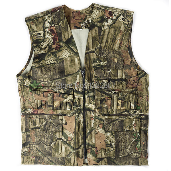 POLYESTER MILITARY TACTICAL OUTDOOR HUNTING FISHING BIONIC REAL TREE CAMO VEST MEN WAISTCOAT IN SIZE 52 -35817(China (Mainland))