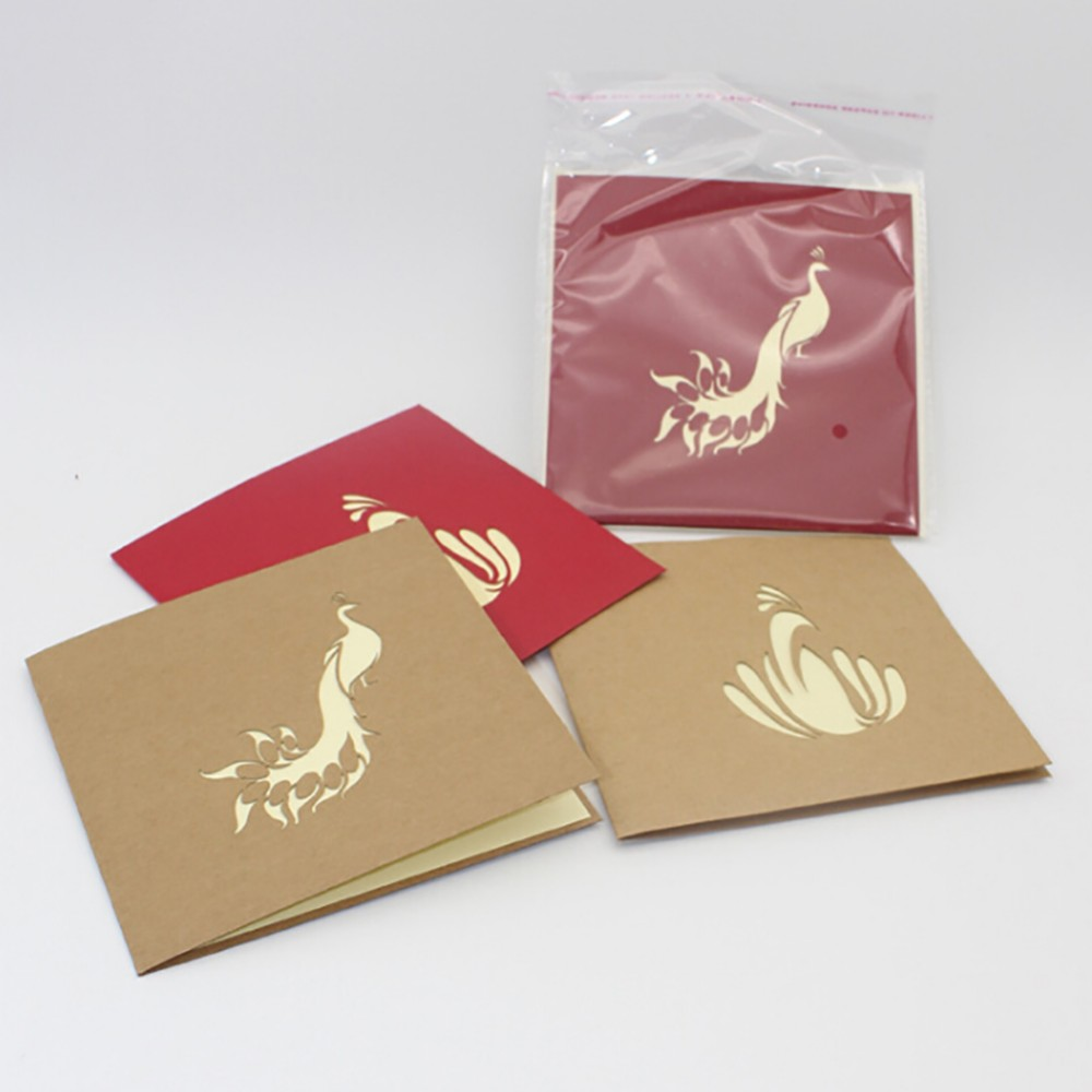 3D Paper Laser cut Pop up Cards Custom Vintage Greeting Cards Peacock Birthday Souvenirs Postcards
