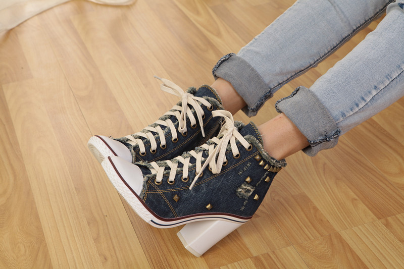Blue Denim Side Zippers Front Lace-up 2016 Spring New Women Fashion Thick Heels Large Size 40 Female Single Shoes<br><br>Aliexpress