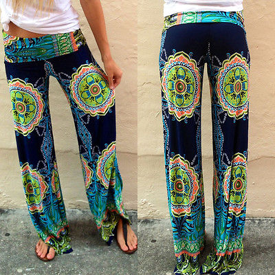New Blue Ladies Women's Fashion Floral Print Harem Pants Women Beach Clothing Loose Elastic Waist Trousers Casual Beach Pants