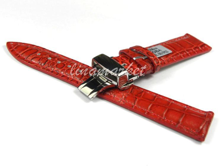 18mm (Buckle 16mm)Top-Grade Double click Butterfly Buckle Red Crocodile pattern Genuine Leather Watchbands BANDS Strap SA11(China (Mainland))