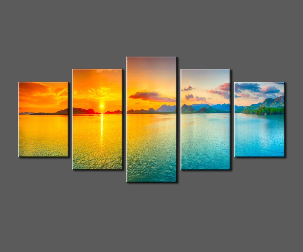 sunset ocean view framed large hd canvas print painting. Black Bedroom Furniture Sets. Home Design Ideas