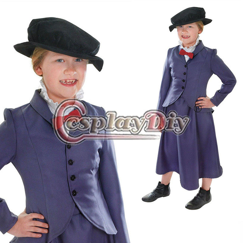 Child Mary Poppins Outfit Kids Girl Fancy Dress Halloween Cosplay Costume Custom Made D0609 - Sophia cosplay store