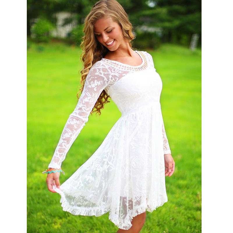Long sleeve lace homecoming dresses
