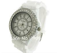 2013 Hot New Fashion geneva Lady brand Crystal Silicone Watch Jelly watch for women wedding quartz watch gift Free Shipping