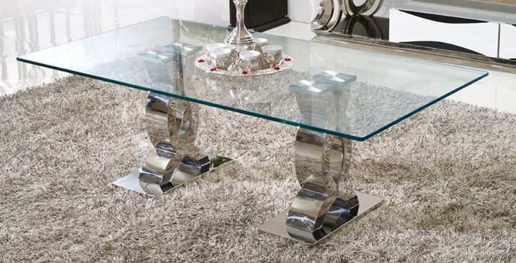 high quality tempered glass top tea table living room furniture stainless steel coffee table home furniture C370(China (Mainland))
