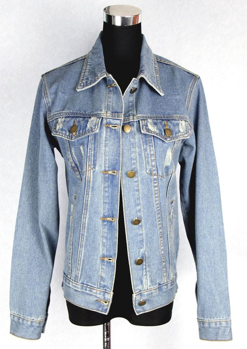 Женская дружок джинсовой пальто женщина личности старинные проблемных all-матч джинсовой верхняя одежда отверстия куртка бесплатная доставка
