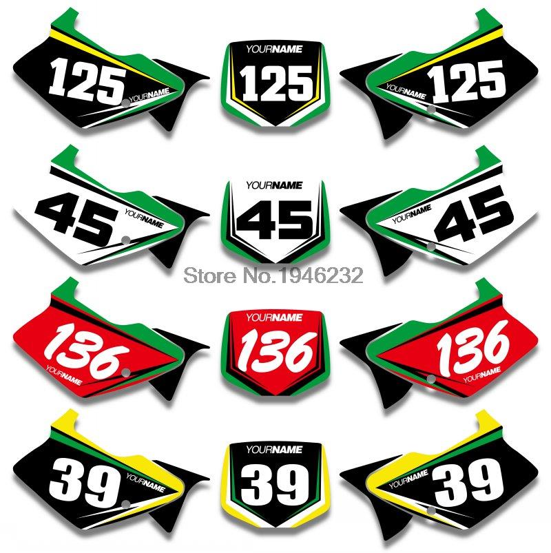 For  Kawasaki KX125 KX250 1994-1998 Custom Number Plate Background Graphics Sticker &amp;Decals <br><br>Aliexpress