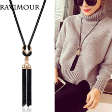 Buy RAVIMOUR Long Necklace Gold Black Color Chains Necklaces & Pendants Jewelry Fashion Tassel Chokers Bijoux 2017 New Year Gifts for $2.74 in AliExpress store
