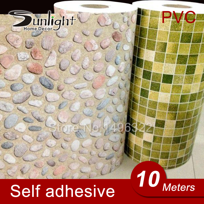 10 Meters/Lot PVC Peel and Stick Self Adhesive Waterproof Wallpaper for Bathroom Kitchen Anti-oil Vinyl Wall Stickers Home Decor(China (Mainland))