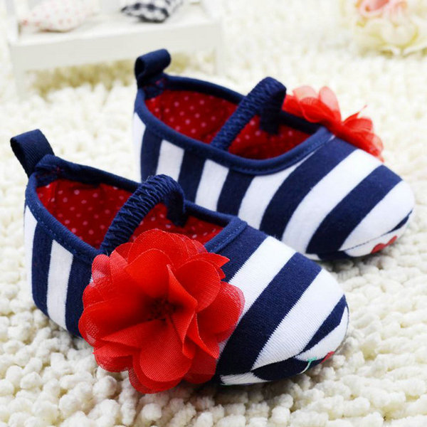 Baby first walker shoes Girls Flower Crib Shoes Soft Stripes Elastic Casual Party Baby Shoes