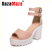 size 34-46 women gladiator sandals vintage design ankle straps open toe platform shoes thick high heels platform sandals PE00033(China (Mainland))