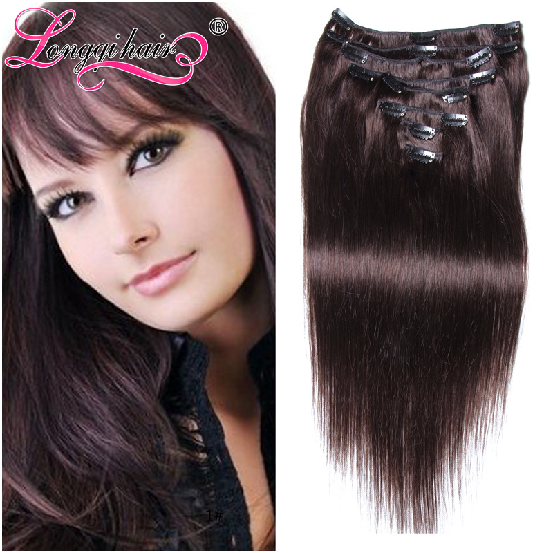 Mink Malaysian Straight  virgin hair clip in Remy human hair extensions Xuchang longqi Clip in/on hair extension 80-100g/set 2#<br><br>Aliexpress