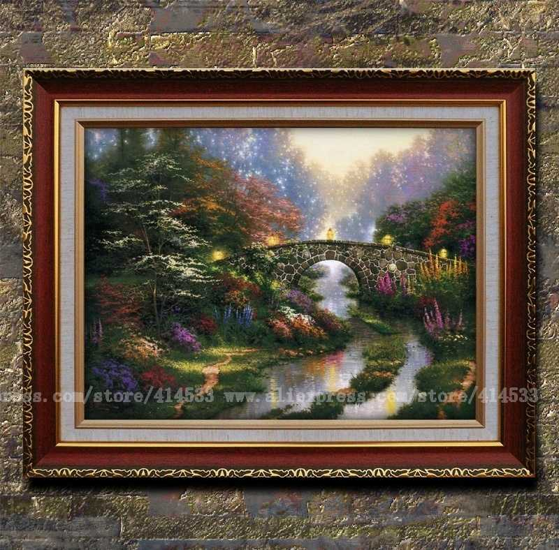 Thomas Kinkade Prints Original Painting Stillwater Bridge Garden Canvas Prints Landscape