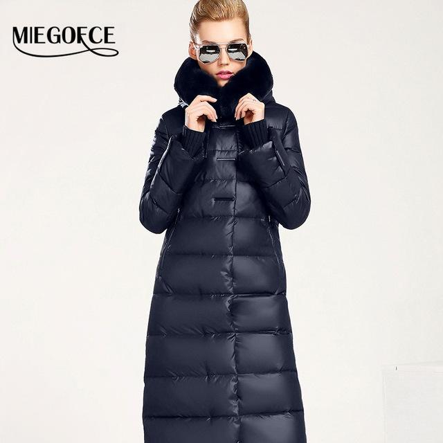 Women Down Coat Jacket Medium Length Woman Down Parka with a Rabbit Fur Winter Coat Women MIEGOFCE 2016 New Winter Collection