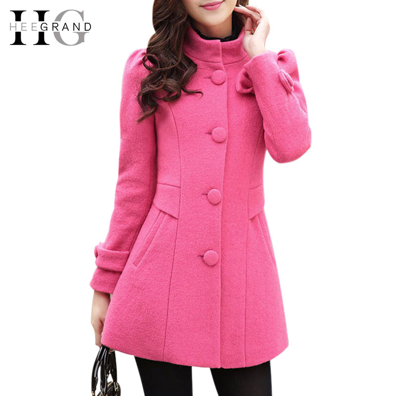 Casacos Femininos 2014 Winter Womens Coats Solid Candy Colors Bow Slim Woolen Blended Long Plus Size Women Jacket WWN236Одежда и ак�е��уары<br><br><br>Aliexpress