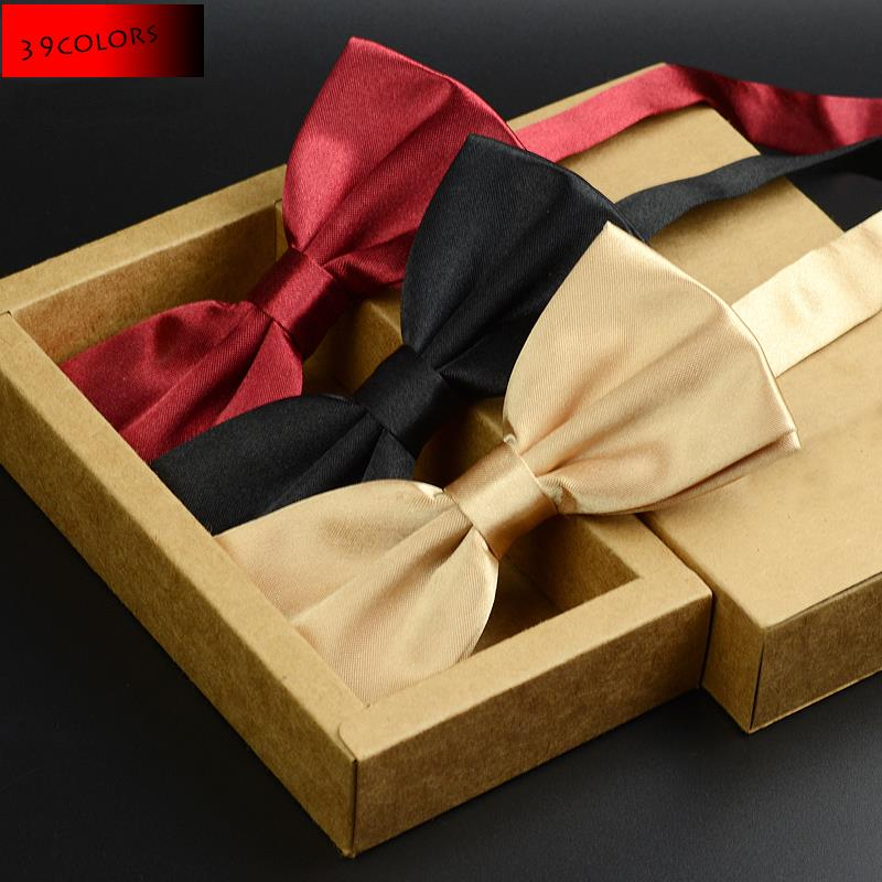 2016 Fashion Solid Color Bow tie Men Wedding Bowtie Party Grooms Black Red Blue Formal Stropdas Women Butterfly Cravat Brand(China (Mainland))
