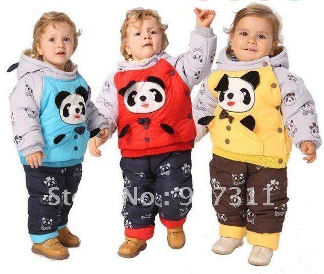 free shipping 1pc/lot 3colors 3sizes Baby winter suit +pant panda clothing boy fur clothing suit winter clothing set kids suit(China (Mainland))
