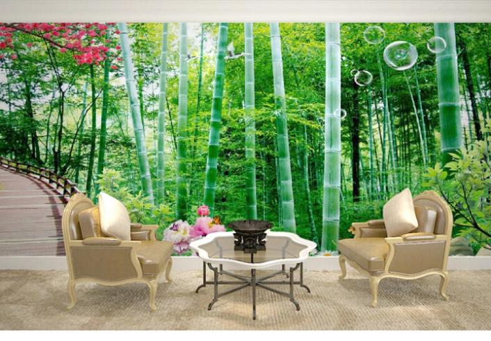 Buy any size 3d bamboo forest photo large for Bamboo forest wall mural