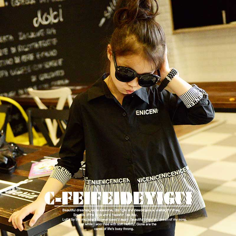 Children Blouse Summer 2016 New Turn-Down Neck Black White Striped Baby Girls Shirt Kids Long Full Sleeves Clothes Casual Blouse(China (Mainland))