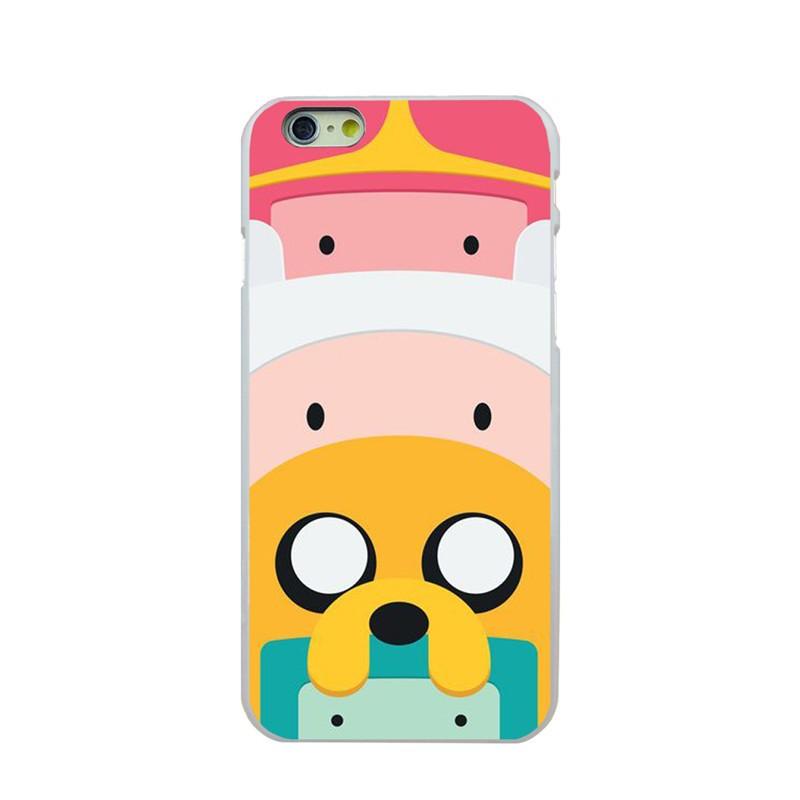For Apple iPhone Case for iphone 4 4 s 5 5 s 5 c 6 6S 6 plus phone cases Adventure Time with Jake and Finn Hard white Cover